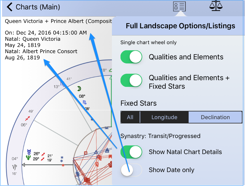 Full Landscape Options for Synastry