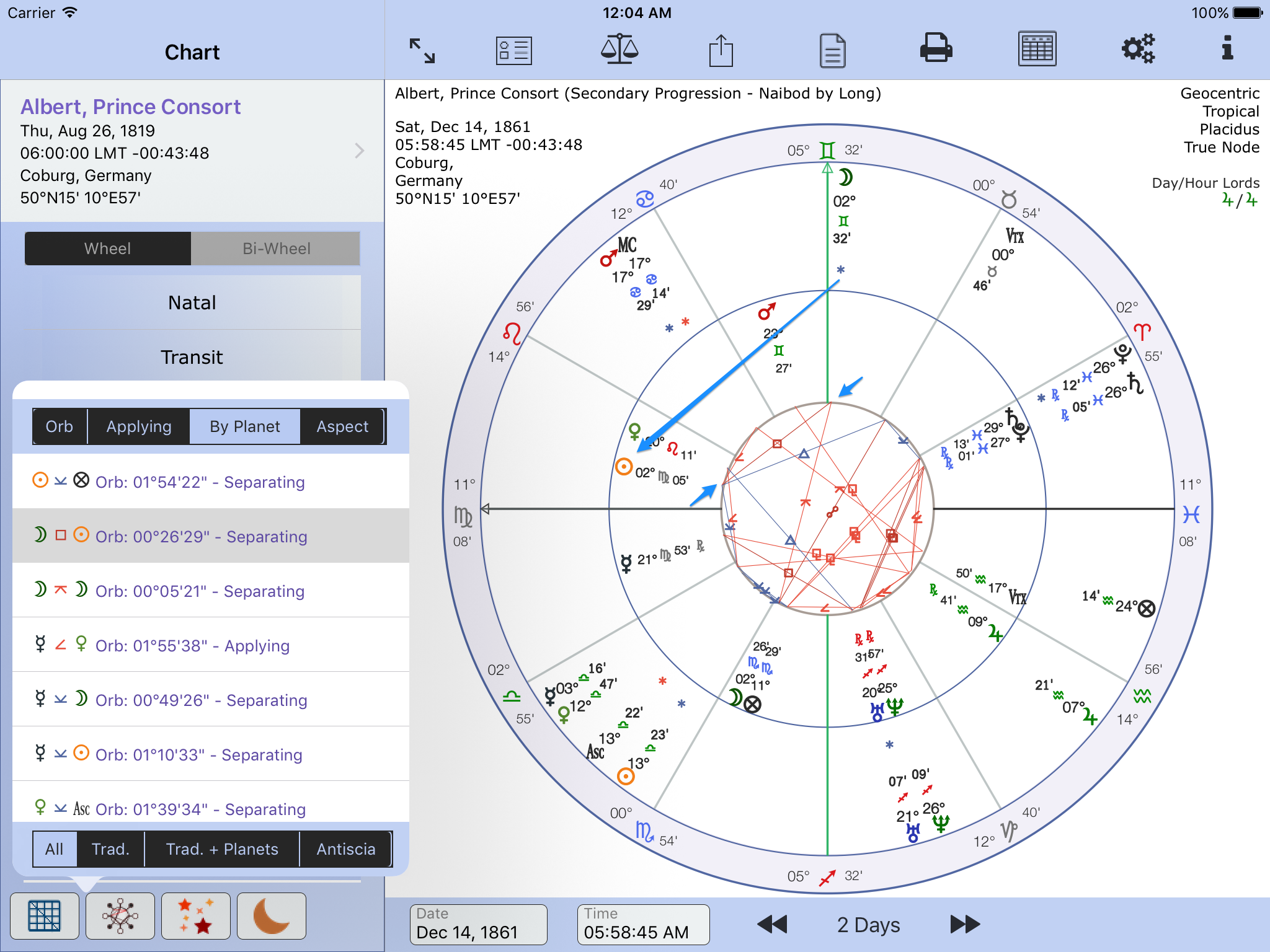 Bi wheel aspect chart lines astroconnexions chart lines for example progressed chart nvjuhfo Image collections