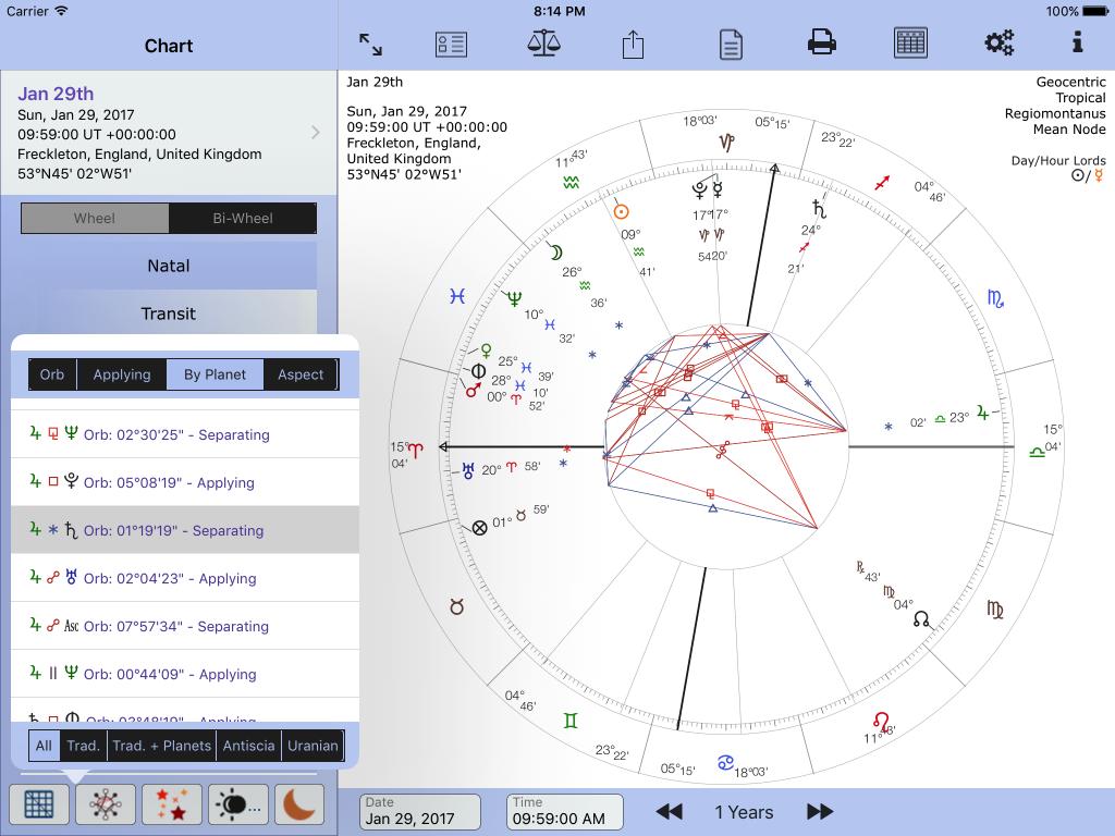 Jupiter sextile to Saturn - applying or separating?