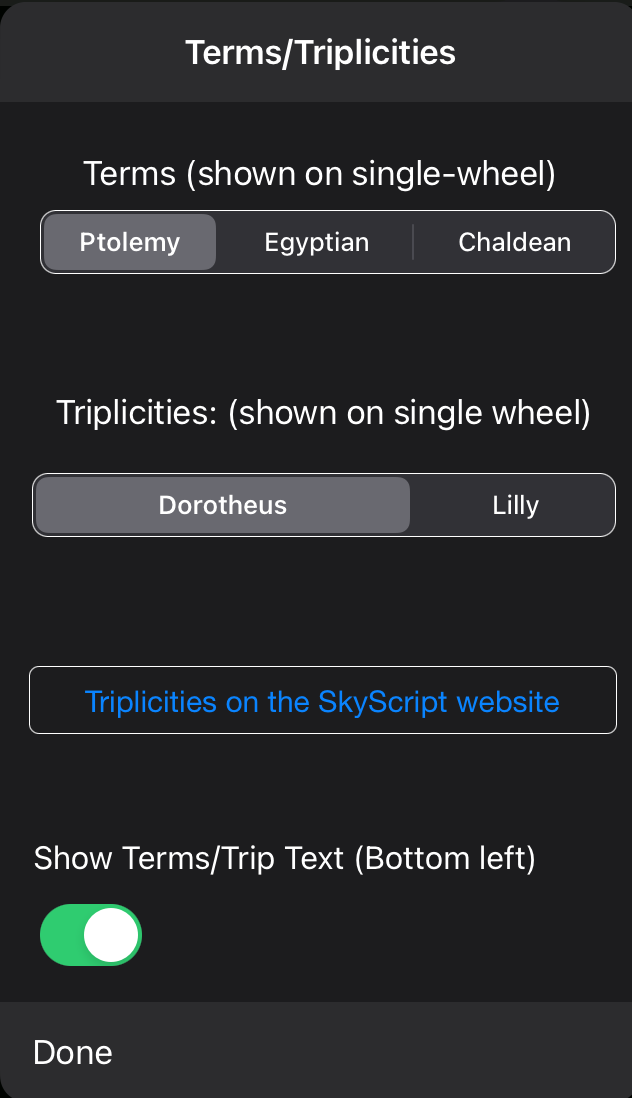 Terms/Trip Settings
