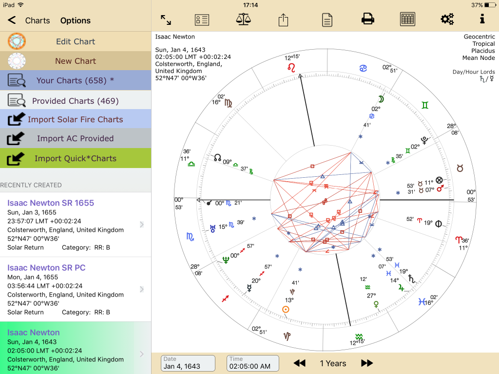 Recently Created Isaac Newton SR radix Chart