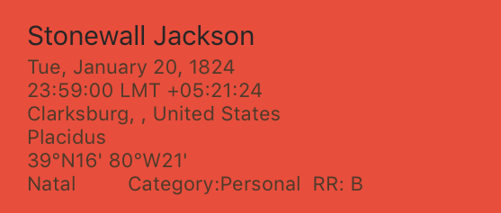 Stonewall Jackson Rodden Rating