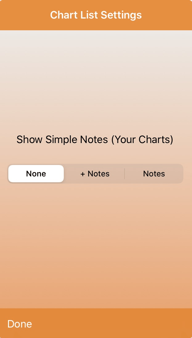 Chart Listing. Show Simple Notes