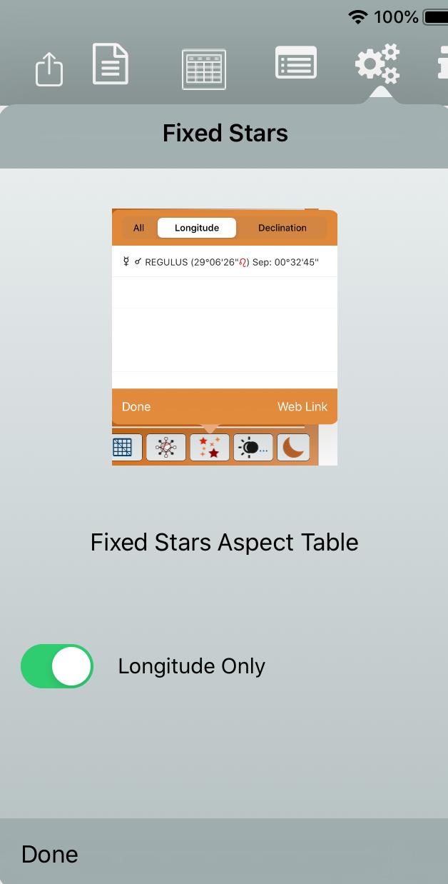 Fixed Stars menu
