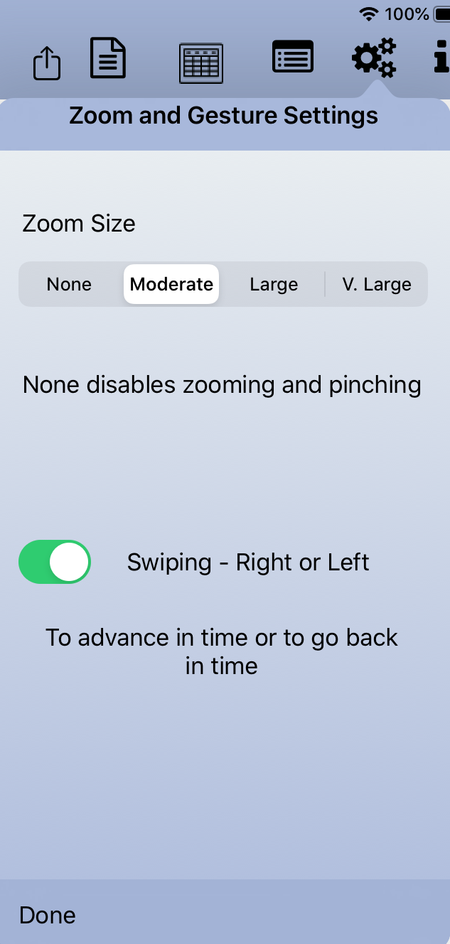 Zoom and Gesture Settings